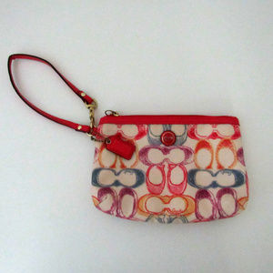 Coach Scribble Cream and Pink Canvas Wristlet